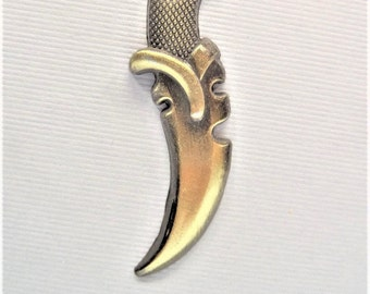 1CT Antique Bronze Knife Charm, Y55,  56x14x4mm, Hole: 2mm