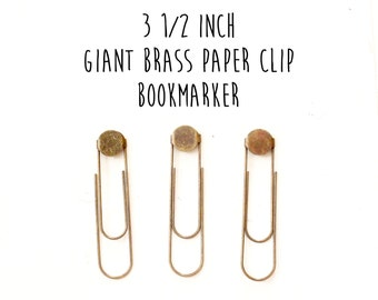 50 - Jumbo - Giant - Extra Large - Brass Paper Clip Bookmakers - Bookmarks - 15mm Glue pad - 3 1/2 inches - Antique Brass
