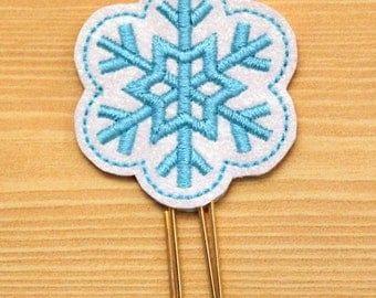 Snowflake glitter vinyl planner paperclip, bookmark, Snowflake on white glitter vinyl, lt turquoise stitching, Planner paperclip accessories