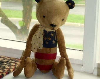 Primitive Americana Teddy Bear ~~~ Red, White and Blue/Americana/Fourth of July/Patriotic