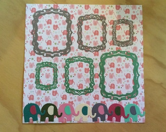 Handmade, 2 Baby Girl Pages, Back-to-Back, Elephants, Frames, Pig, Old McDonald, Gray, Green, Pink, Blue, Beige, Sizzix