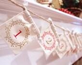 Christmas Advent Calendar Garland - Christmas Garland - Christmas Decor - Christmas Countdown - Christmas Calendar - Holiday Decor - Garland