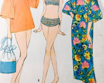 Teen and Junior Bathing suit and Beach Robe Vintage McCalls 8780
