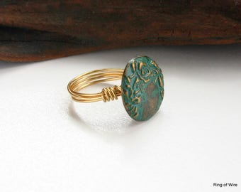 Green Button Ring, Rustic Style Ring, Antique Brass Ring, Metal Button Ring, Green Flower Ring, Wire Wrapped Ring, Burnished Button Ring