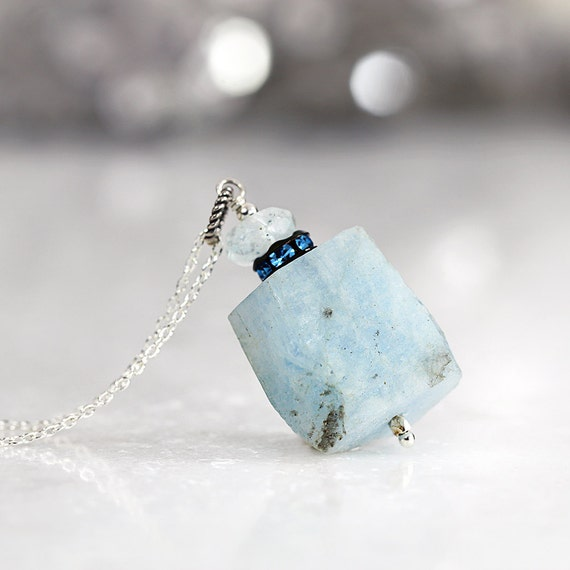 Raw Aquamarine Necklace - Rough Gemstone Jewelry