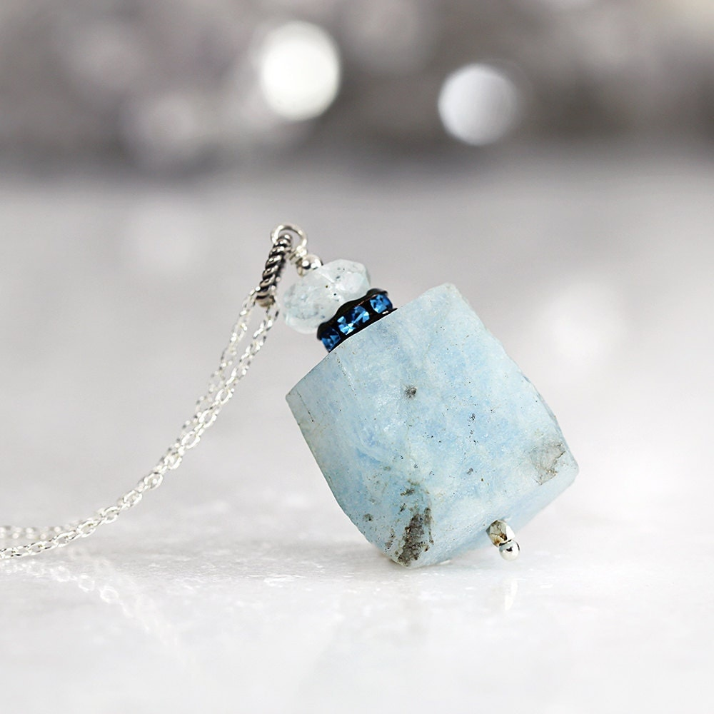 Raw Aquamarine Necklace - Rough Gemstone Jewelry - Blue Stone Necklace - Raw Aquamarine Pendant - March Birthstone - Aquamarine Jewelry