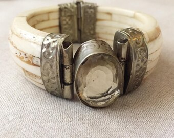 Vintage 1970s India Hand Made Carved Bone Stamped Silver Bracelet with Enormous Citrine Look Glass Setting