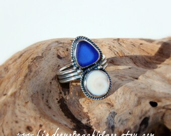 Hawaiian Cobalt Blue Beach Glass with Operculum (Shiva's Eye) Set in 925 Sterling Silver Handcrafted Ring - Size 7.5