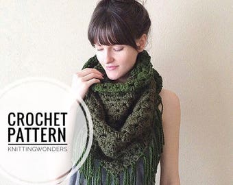 Crochet Pattern | Chunky Triangle Fringe Scarf Blanket Scarf / Easy Pattern Beginner Knitting Project DIY / Fall Fashion Winter Warm