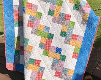 "1930's Reproduction Fabrics Are Bright and Beautiful In This Scrappy Stair Steps 45.5 "" X 52.75"" Quilt"