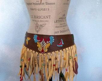 Leather  bohemian belt, fringe gypsy belt, obi style, festival skirt, layering skirt, embellished belt, hippie fringe belt, burning man