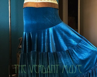 Size L Madalene Skirt- Ready to Ship Teal Stretch Velvet Tiered Bellydance Flamenco Maxi