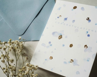 Congratulations, Watercolor Card, Colorful Blank Card, Copper-foil, A2 Size Card