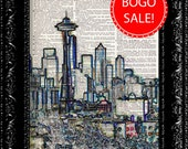 Seattle Skyline Color -  Vintage Dictionary Print Vintage Book Print Page Art  Vintage Book Art