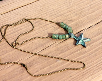 Mykonos Starfish Necklace, Starfish Jewelry, Beach Jewelry, Patina Starfish Necklace, Nautical Jewelry, Beach Boho