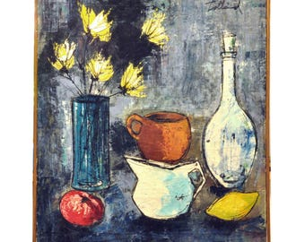 1950's Mid Century Modern Oil Painting - Still Life with Flowers and Fruit - Vintage Oil Painting