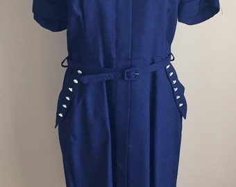 Vintage 1940s 50s Navy Blue Misses' Day Dress 6 8
