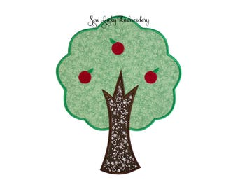 Apple Tree Applique Embroidered Patch , Sew or Iron on