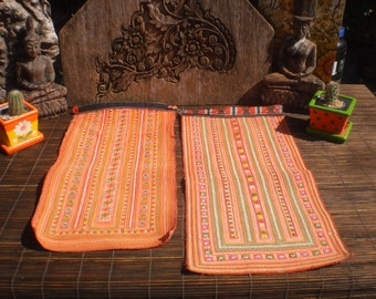 Vintage Embroidered Textile Set Of 2, Tribal Textile, Vintage Cross Stitch, Cross Stitch Vintage Textile