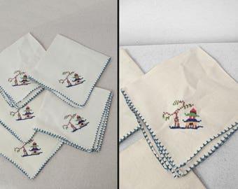 PAGODA Embroidered Napkins 1940s Cloth Handmade Asian Theme White + Blue Set of 5