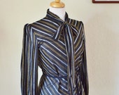 Vintage 1970's Polyester Secretary Blouse Black Gold & Silver with Pussy Bow Size Medium