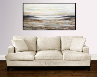 Abstract landscape painting 24 x 48 large original contemporary oil painting  sienna brown modern art design by L.Beiboer