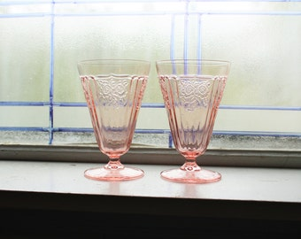 2 Mayfair Open Rose Footed Tumblers Pink Depression Glass 1930s