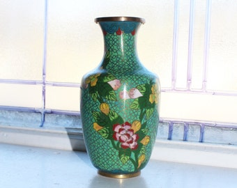 "Vintage Chinese Cloisonne 6.5"" Vase Brass and Enamel"