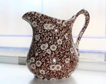 Brown Transferware Milk Pitcher Crownford Calico Rustic Farmhouse