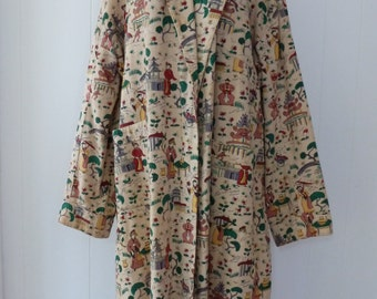 50's Asian Novelty Print Robe Textured Cotton Barkcloth Chinoiserie House Coat Full Length Plus Size