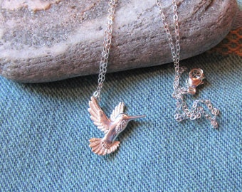 Hummingbird Necklace, Sterling In-Flight Hummer Sterling Silver Delicate Flat Chain, Bird Lover Necklace, Nature, Humminbird Charm Necklace