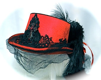 Red Top Hat Gothic Riding Hat Victorian Steampunk GO-101