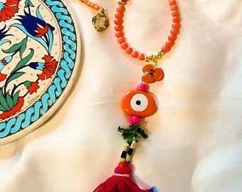 Turkish evil eye necklace with tassel , tribal gypsy necklace with evil eye , Ethnic evil eye necklace with beaded tassel