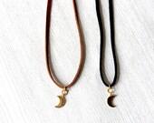 Moon Choker Necklace // Crescent Moon Choker // Crescent Moon Choker // Crescent Choker // Crescent Necklace // Thin Leather Choker