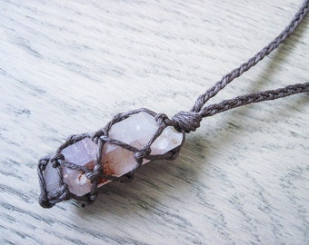 Lithium Quartz Necklace, Raw Crystal Necklace, Hemp Necklace, Healing Crystal Jewelry, Raw Quartz Necklace