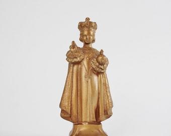 Vintage Infant Jesus of Prague Bronze Statue - Jesus Little Crown Shrine - L.C. Connelly Metal Religious Statuary
