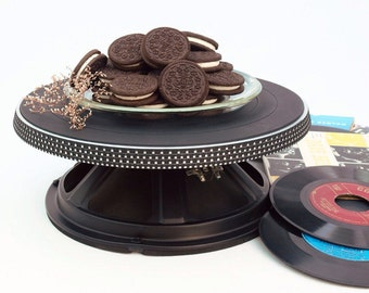 Audio Turntable Cake Pedestal X from The Audio Buffet Line of Serveware, Repurposed Upcycled Turntable Platter and Speaker Parts