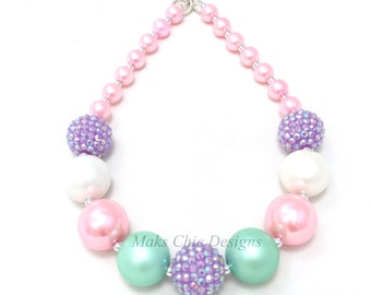 Toddler or Girls Pink, Purple, Mint Green and White Chunky Necklace - Girls Spring Chunky Necklace - Flower Girl Necklace - Pink Necklace