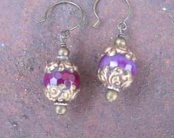 Nepal Beaded Earrings - Purple Fancy Beaded Earrings - Boho Chic Beaded Earrings