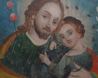 Early 1900's Saint Joseph with Jesus Christ Child Mexican Retablo, Antique Oil on Tin, San Jose & Nino