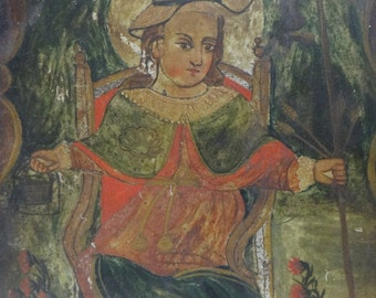 1800's Holy Infant of Atocha Retablo,  Santa Nino,  Jesus Christ, Antique Oil on Tin