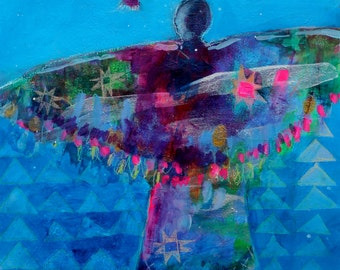 """Colorful Original Abstract Figure Painting, Modern, Small, """"Don't Forget Who Taught You to Fly"""" 11x14"""""""