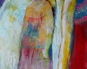 """Angel Artwork, Colorful Abstract Figure Painting, Spirit, Red Blue """"Guardian Angel"""" 12x24"""""""