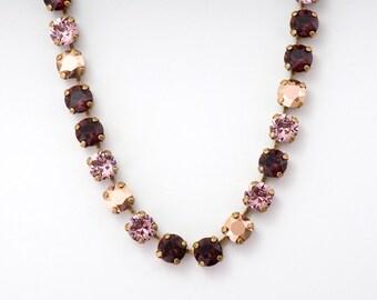 Burgundy Rhinestone Necklace, Pink Rhinestone Jewelry, Purple Crystal Jewelry, Burgundy Necklace, Nickel Free Brass Necklace Chaton, Danele