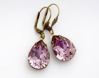 French Pink Rhinestone Earrings, Crystal Rhinestone Jewelry, Rhinestone Drop Earrings, Antiqued Brass Nickel Free Leverback Earrings, Dede