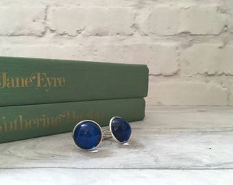 Blue oversized cufflinks made from glass, unisex fashion cuff links, suit accessories, gifts for him uk