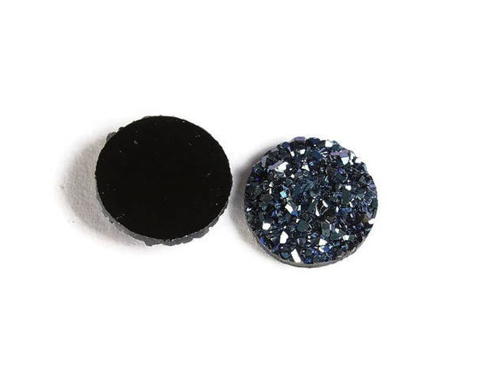 12mm Blue round resin cabochon - Faux druzy cabochon - Faux drusy cabochon - Textured cabochon (1878) - Flat rate shipping