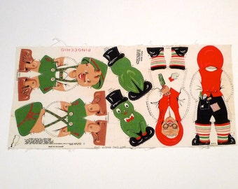 Pinocchio Fabric Panel Set Vintage Cut and Sew Pillows or Stuffed Toys Sew and Stuff Cricket Stitch and Stuff Gepetto Plush Toy 1950s 1960s