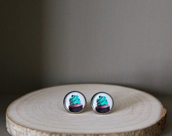 Cupcake earrings with blue icing /tuquoise pop art stud earrings. Cupcake jewelry, post earrings, gift for her.