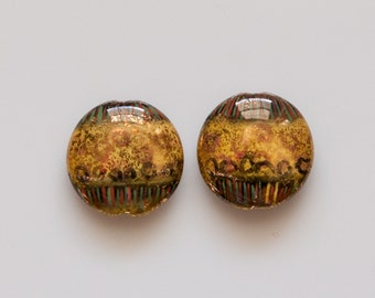 BdPn231 - 18mm Flat Round Multi Color with 14Kt Gold Accent Porcelain Beads - 2 Pieces